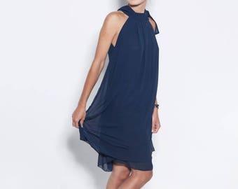 SALE - Chiffon dress | Bow dress | Navy blue dress | LeMuse bow dress