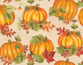 Wilmington Prints - Colors Of Fall - Pumpkins  and  Leaves - Tan Fabric by yard or select cut  84412-187