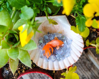 Fairy Garden Koi Pond - Handmade Fairy Garden Accessory - Goldfish, found things, fairy display