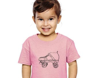 Toddler Roller Skate Shirt, Roller Derby, Cotton Crewneck Short Sleeved Graphic Tee Shirt, Hand Printed Screenprinted Clothing Skating Party