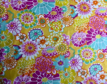 Kaffe Fassett OOP, rare, Asian Circles, yellow, floral fabric, by the half yard, yardage available