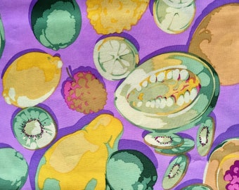 Martha Negley MN09 OOP, rare, Fruit fabric, lavender yellow, by the half yard, yardage available