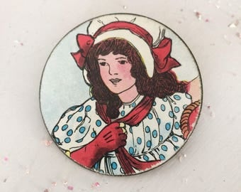 upcycled brooch,  repurposed brooch, vintage illustration collage decoupage altered brooch, fairy, whimsical jewelry, altered fantasy brooch