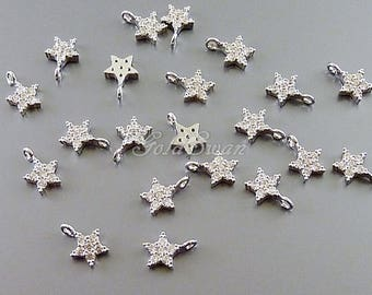 2 pcs teeny tiny CZ pave star with loop, Cubic Zirconia 6mm star charms, cute silver star pendant 2089-BR