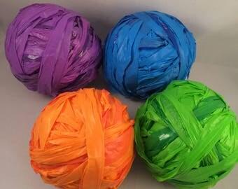 50 yd Ball of Solid Color Plarn - Purple, Orange, Blue, Green Plastic Bag Yarn