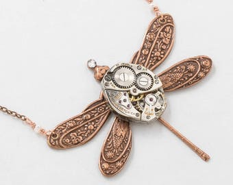 Dragonfly Necklace, Rose Gold Dragonfly Pendant with Vintage Watch Movement, Flower and Leaf Motif, Pearl & Crystal Stone, Steampunk Jewelry