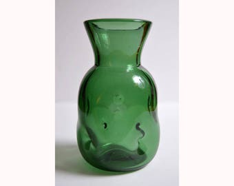 vintage EMPOLI VERDE GLASS green vase Italian