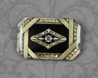 Vintage Catherine Popesco France Resin Art Deco Style Rectangular Faux Marcasite Gold and Black Brooch