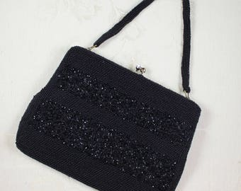 Vintage Mid Century Beaded Black Purse with Short Handle
