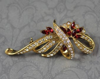 Vintage Red and Clear Rhinestone Gold Twist Brooch