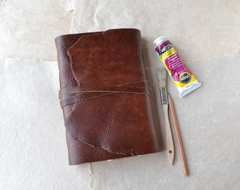 Leather Journal with Watercolor Paper and Handmade Paper - Rustic Brown Leather Journal