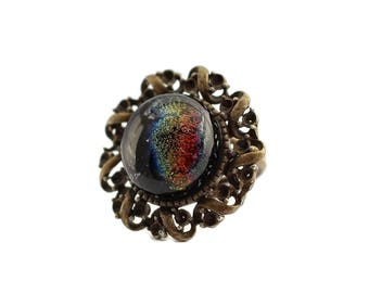 Dichroic Fused Glass Ring, Vintage Brass Ring, Fused Glass Ring, Multi Colored, Rainbow, Adjustable Ring, Dichroic Fused Glass Ring