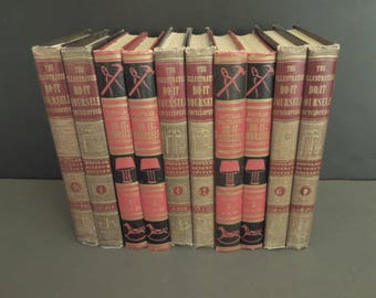 Books for decor - Books by Color - Red Black Taupe Set - Instant Library - Vintage Centerpiece Old Books