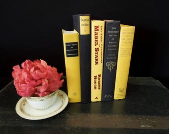 Yellow Black Book Stack - Books for Decor - Books by Color - Vintage Colorful Book Mix - Hall Table Entry Decor