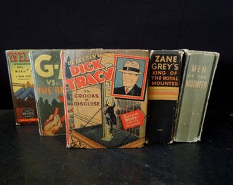 Big Little Book Collection - Vintage Juvenile Youth Reading - Man Cave Decor - Book Stack Colorful Display Prop - Adventure