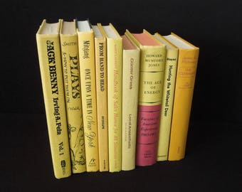 Sunflower Yellow Colorful Books - Home Staging Wedding Party Books for Decor - Instant Collection