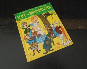 Adventures from the Original Alice in Wonderland Vintage Book - Old Children's Book - Wonder Books Marcia Martin
