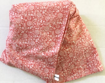 Hot/Cold Rice or Flax Seed Bag - Peach Coral Pink Flower Print