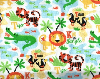 "LIONS & TIGERS Flannel Fabric, 1 yard x 42"" inches wide.  Brand new."