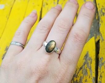 Sterling Silver Rainbow Flash Labradorite Ring, sz 8