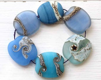 Pastel Blue Handmade Glass Bead Set, 6 SRA Lampwork Beads