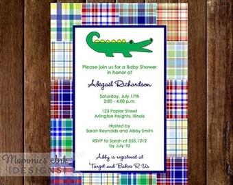 20% OFF SALE Preppy Madras Alligator Baby Shower Invitation  - PRINTABLE Invitation Design