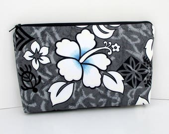 Hawaiian Hibiscus in Gray, Make-up Bag,Tropical Cosmetic Zipper Pouch