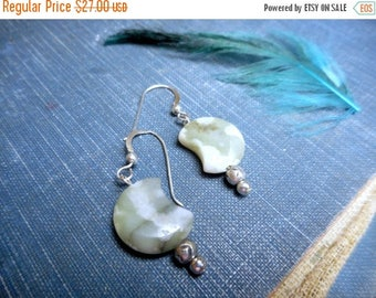 The Moss Moon Earrings. Moss green & cream Ocean Jasper Crescent Moons and Sterling silver earrings.
