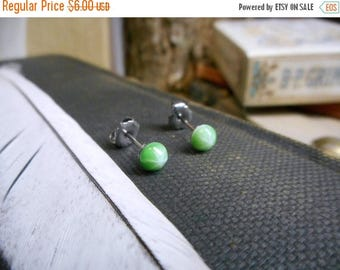 SALE The Starlight post earrings. Melon Green Glass Starburst Dome Cabochon & Titanium Post Earrings. Opaque Studs