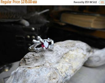 SaLe The Valentine Tree. Rustic Tree Branch Handmade Engagement Ring 3/4 CT Heart Shaped Red Garnet Solitaire Ring Unique Twig Ring Lost Wax