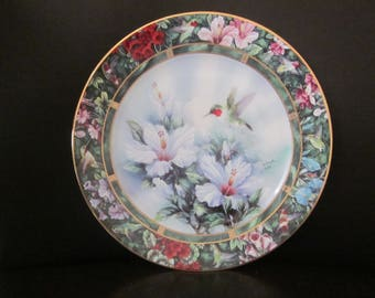 "COLLECTIBLE PLATE ""The Ruby Throated Hummingbird"" Lena Liu FIRST iSSUE 1992"