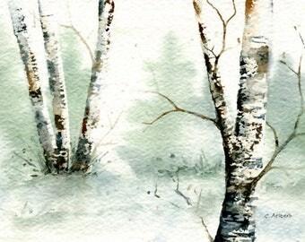 Winter Landscape Painting Original Watercolor