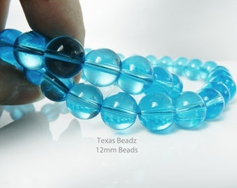 12mm Aqua Glass Beads 20pcs Turquoise Round Beads Translucent Glass