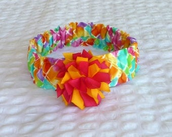 "Rainbow Crosshatch Dog Scrunchie Collar with pom pom bow - Size M: 14"" to 16"" neck"