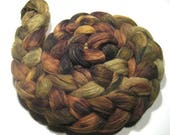Merino wool & tussah roving - hand painted spinning and felting fiber - 4.8 oz Winding Trail - hand dyed wool top mustard olive brown fiber