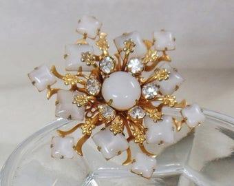 SALE Vintage White Glass Moonstone Rhinestone Brooch. Snowflake Star Moonstone Rhinestone Pin.