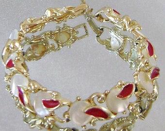 SALE Vintage Bracelet Mother of Pearl and Red Enamel