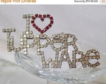SALE Vintage I Heart Tupperware Rhinestone Brooch.  Unsigned Dorothy Bauer Pin.