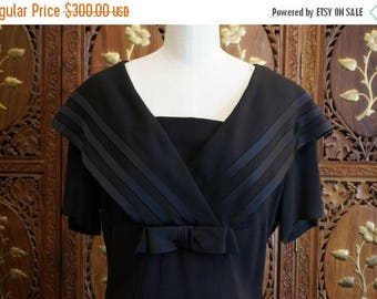 ON SALE 1940s Black Crepe Sailor Collar Dress