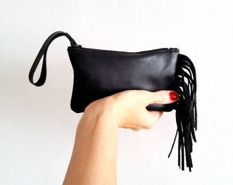 Fringes Black Leather pouch, Wallet, Small purse with Fringes
