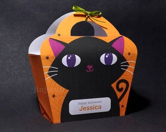 Kawaii Cute Halloween Black Cat Neko Giftbag Spooky Treat basket Packaging Editable Printable PDF
