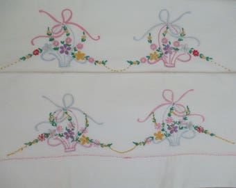 Vintage Pillowcases Cotton  Pillow Cases Hand Embroidered Flower Baskets