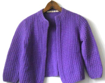 Vintage Hand-Knit Sweater •Vintage Ladies Cardigan • Purple Open Front Sweater