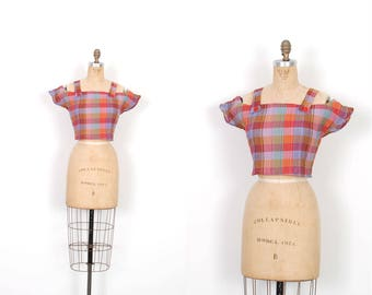Vintage 1980s Top / 80s Madras Plaid Crop Top / Pink and Blue ( S M )