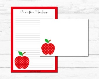Stationery Set - red apple - teacher - personalized - letter writing