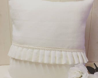 Linen Cushion With Front Frill And Cotton Lace