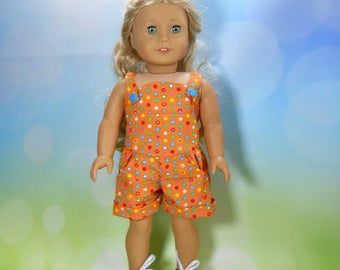 18 inch doll clothes, Three Piece Outfit, Orange Dot Romper, 05-2105