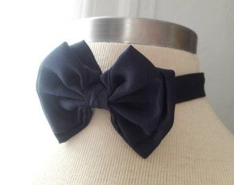 Navy blue adjustable vintage bow tie