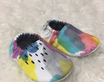 Rainbow Water Color Soft Sole Baby Toddler Shoes - Made to Order - Primitive - Rain Drops - Pink - Purple - Yellow - Aqua - Moccs