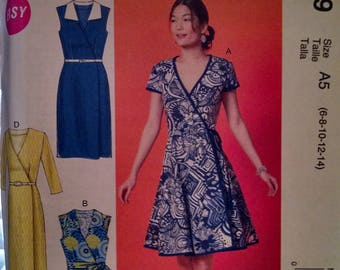 McCall's m6959 new uncut misses wrap dress pattern
